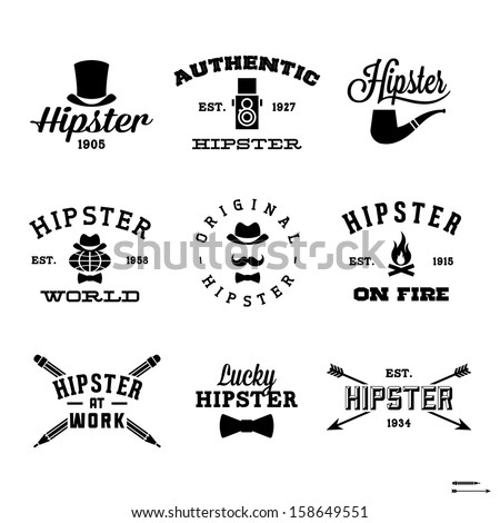 vintage hipster labels with hat, pipe, fire Сток-фото ©