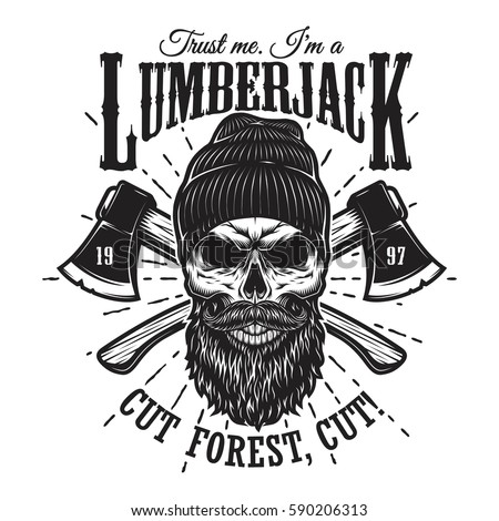 Vintage hipster lumberjack emblem with crossed axes behind the skull in beanie, with beard and mustache. Sunburst on background. Monochrome, isolated on white background.