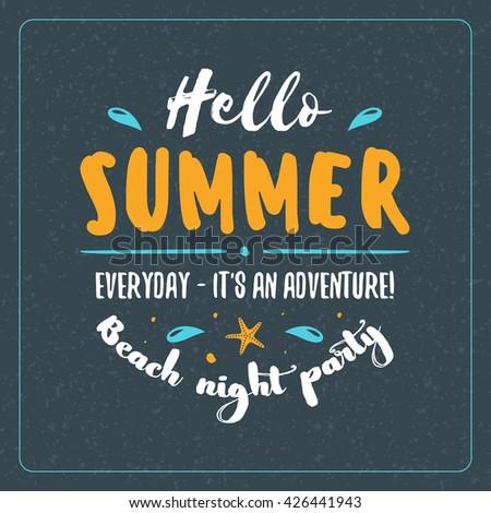 Vintage Hipster Summer Holidays Label or Badge. Beach Party. Vector Design Element on Dark Background
