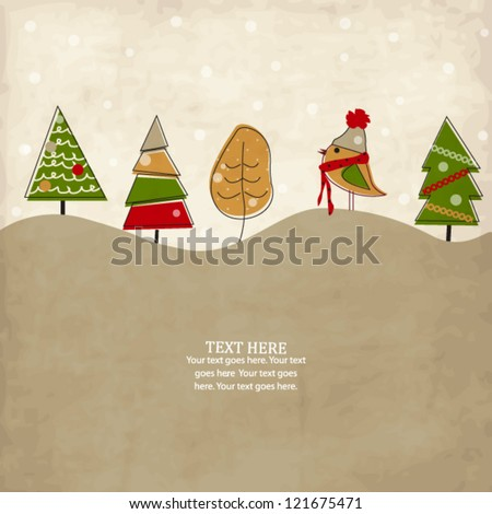 Vintage holiday card with bird and Christmas trees