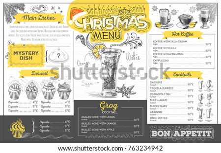 Vintage holiday christmas menu design. Restaurant menu