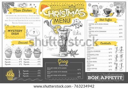 Vintage holiday christmas menu design. Restaurant menu