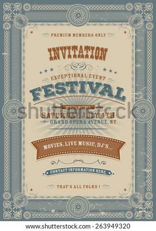 Vintage Holiday Festival Invitation Background/\ Illustration of an elegant vintage fourth of july invitation to a festival event with floral patterns, frames, banners, grunge texture and retro design
