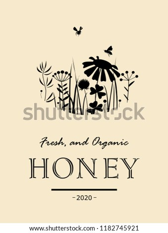 Vintage honey card with bees and flowers