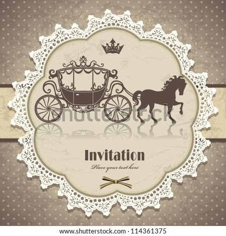 Vintage horse carriage invitation template
