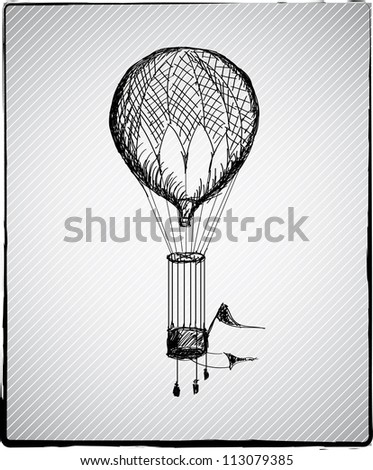 Vintage hot air balloon hand drown picture
