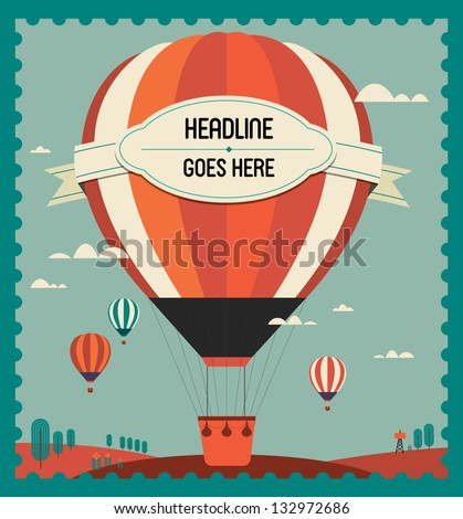 vintage hot air balloon in the