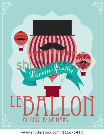 vintage hot air balloon poster template