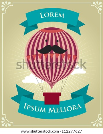 vintage hot air balloon poster template vector/illustration