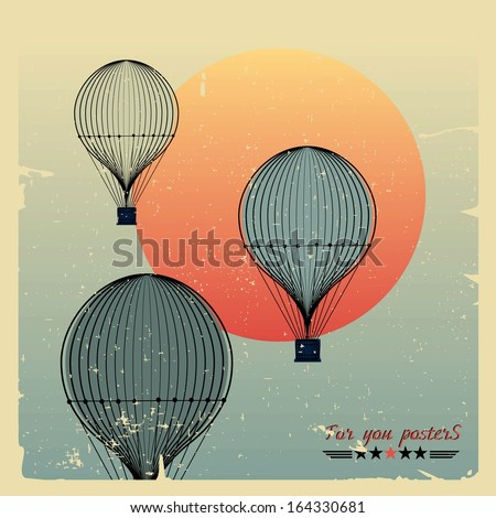 vintage hot air balloons fly...