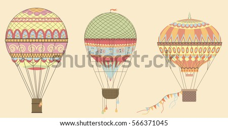 Vintage Hot Air Balloons in sky. Vector illustration