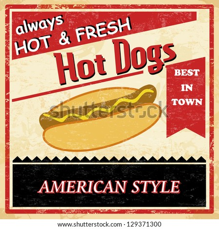 Vintage Hot dog grunge old style poster background, vector illustration