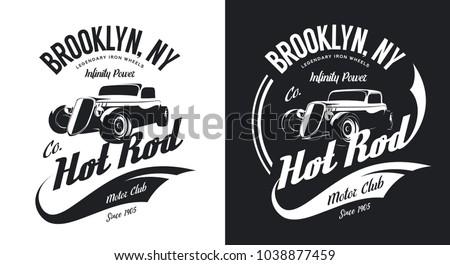 vintage hot rod black and white