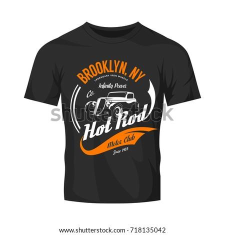 Vintage hot rod vector logo isolated on black t-shirt mock up. Premium quality old sport car logotype emblem illustration. Brooklyn, New York street wear superior retro badge tee print design.