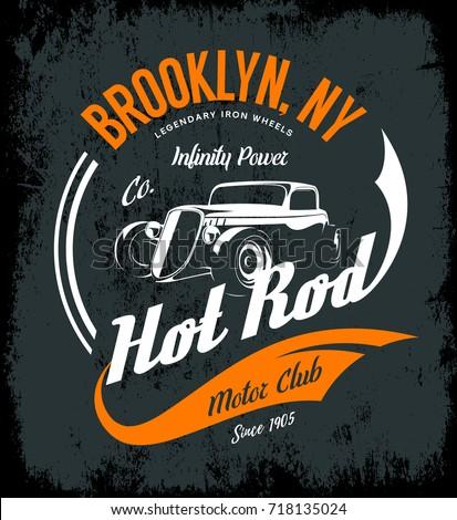 Vintage hot rod vector tee-shirt logo isolated on dark background. Premium quality old sport car logotype t-shirt emblem illustration. Brooklyn, New York street wear superior retro tee print design.