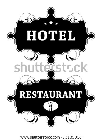 Vintage hotel and Restaurant signs, vector illustration