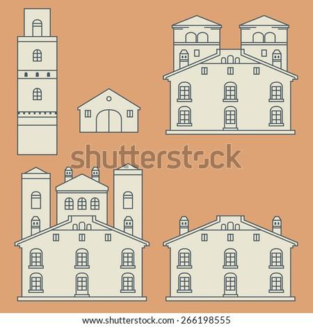 vintage houses set  vector...