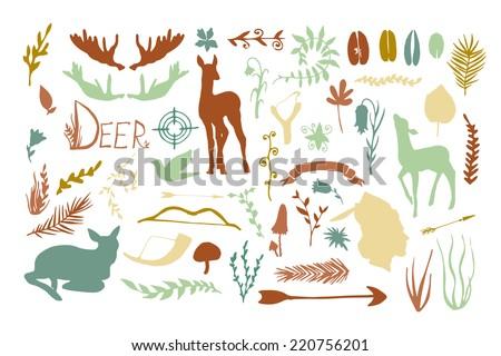 vintage hunt forest animals