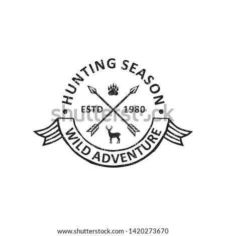 vintage hunting badges labels, emblems and logo