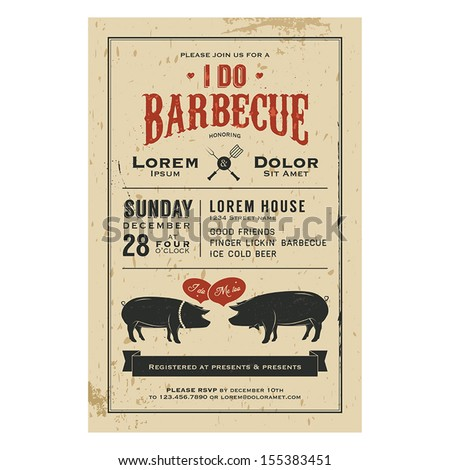 Vintage I Do Barbecue wedding invitation card