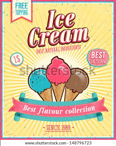Vintage Ice Cream Poster Vector illustration
