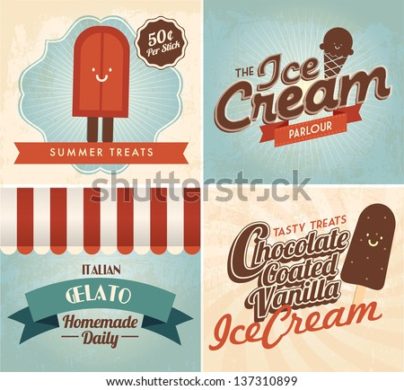 vintage ice cream templates vector/illustration