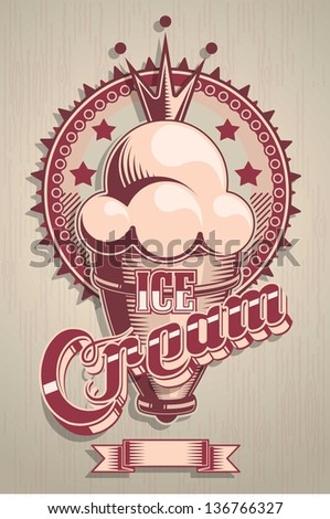 vintage ice cream vector label