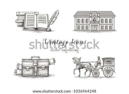 Vintage icon set. Books, quill, hotel, briefcase with papers, vintage cab and horse.  Hand drawn engraving style illustrations.