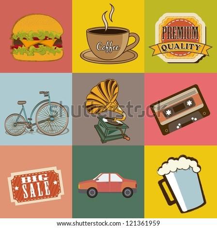 vintage icons over vintage background. vector illustration