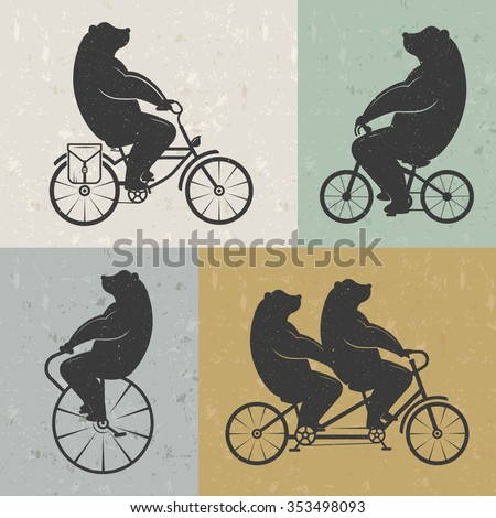vintage illustration bear on a...