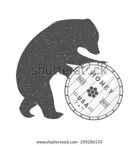 vintage illustration bear with