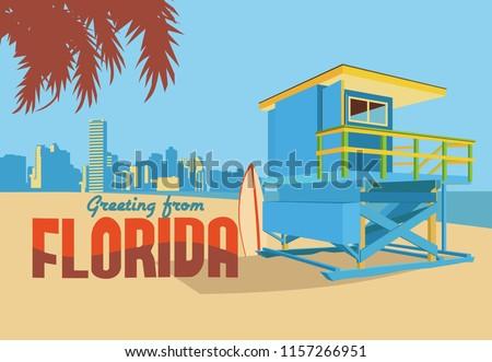 Vintage illustration Florida postcard.