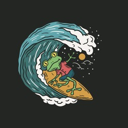 vintage illustration of a frog surfing in the waves