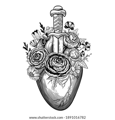 Vintage illustration of heart pierced by dagger with flowers in tattoo engraving style. Black and white vector drawing. Сток-фото ©