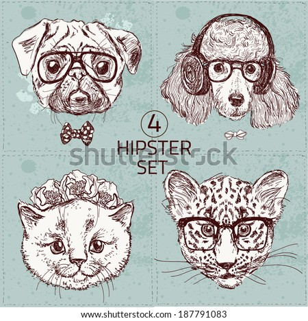 vintage illustration of hipster