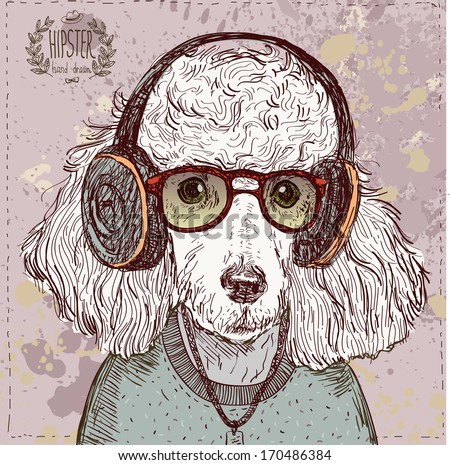 Vintage illustration of hipster poodle with glasses headphones and bow in vector on vintage background