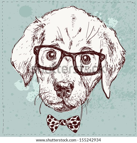 Vintage illustration of hipster puppy with glasses in vector