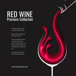 Vintage illustration of red wine splash in wine glass with bottle on black background. Alcohol concept design for winery banner. Vector paper cut style illustration. Abstract restaurant menu template