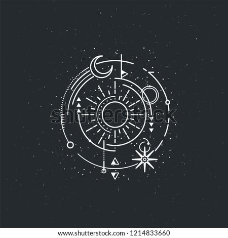 Vintage illustration of thin line sun of sacred. Vector graphic design logo, print, label, badge, sticker, emblem, sign, identity.