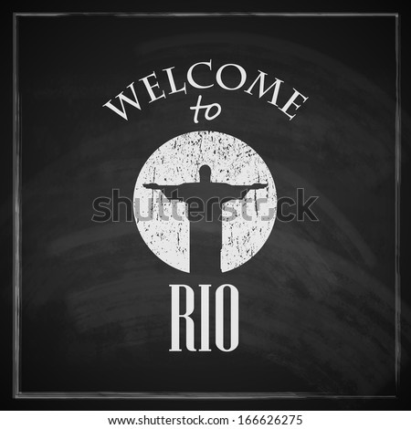 vintage illustration with christ the redeemer statue. brazilian landmark. travel concept with chalkboard texture . welcome to Rio de janeiro