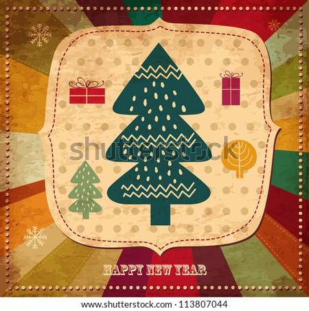 Vintage illustration with Christmas tree