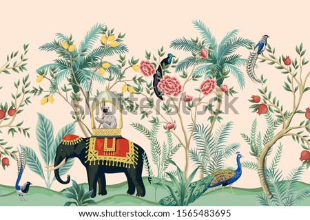 Vintage indian floral palm tree, plant, elephant animal, peacock bird seamless border pink background. Exotic oriental wallpaper.