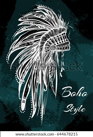 Vintage indian headdress with feathers. Vector tribal graphic illustration on watercolor background. Bohemian, spirit, travel, tattoo art, prints, posters