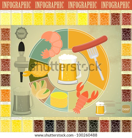 Vintage Infographics set - Beer icons, Snack and elements for presentation and Graph - vector illustration