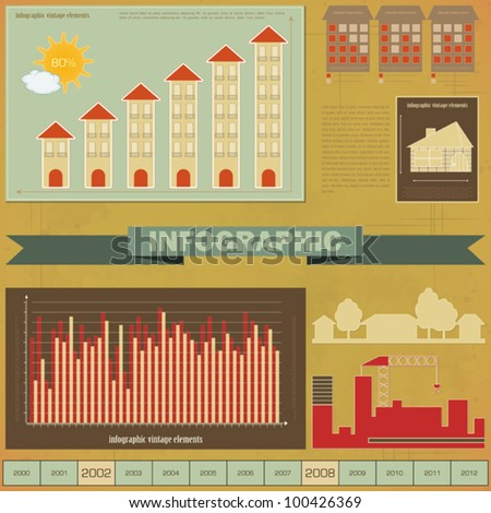Vintage infographics set - House Construction and elements for presentation and Graph - vector illustration