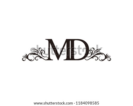 Vintage initial letter logo MD couple wedding name