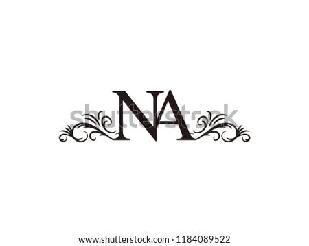 Vintage initial letter logo NA couple wedding name