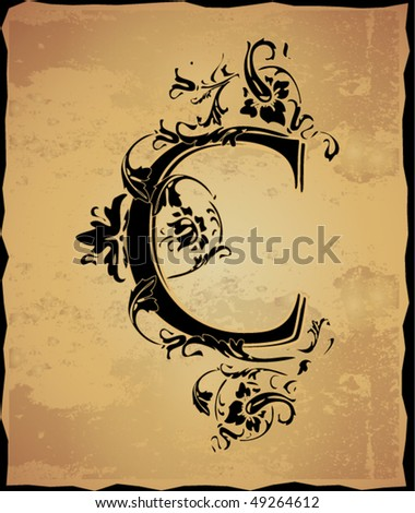 Vintage initials letter c stock vector illustration 49264612