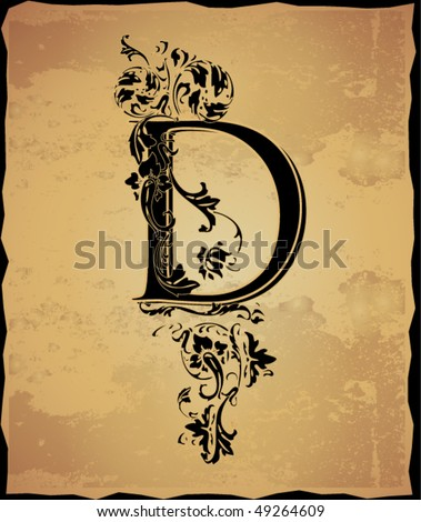 Tatto  on Vintage Initials Letter D Stock Vector 49264609   Shutterstock