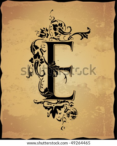 stock vector Vintage initials letter e
